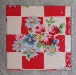 Ceramic Wall Tiles Made With Cath Kidston Daisy Rose Check in Red